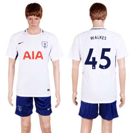 Men 2017-2018 club Tottenham Hotspur home 45 white soccer jersey