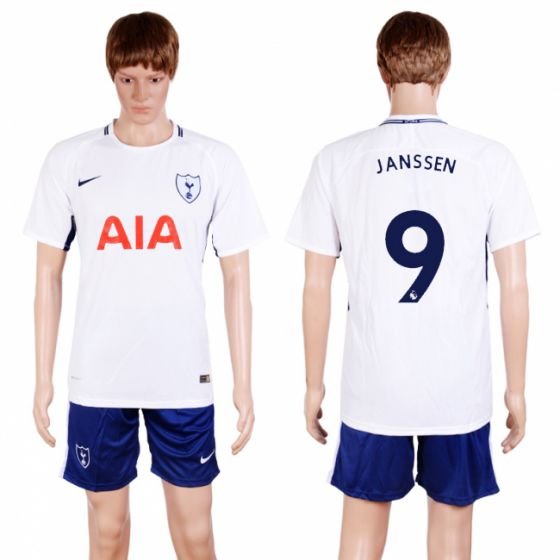 Men 2017-2018 club Tottenham Hotspur home 9 white soccer jersey