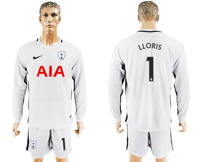 Men 2017-2018 club Tottenham Hotspur home long sleeve 1 soccer jersey