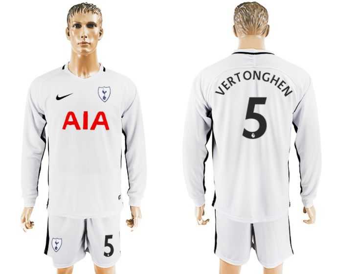 Men 2017-2018 club Tottenham Hotspur home long sleeve 5 soccer jersey
