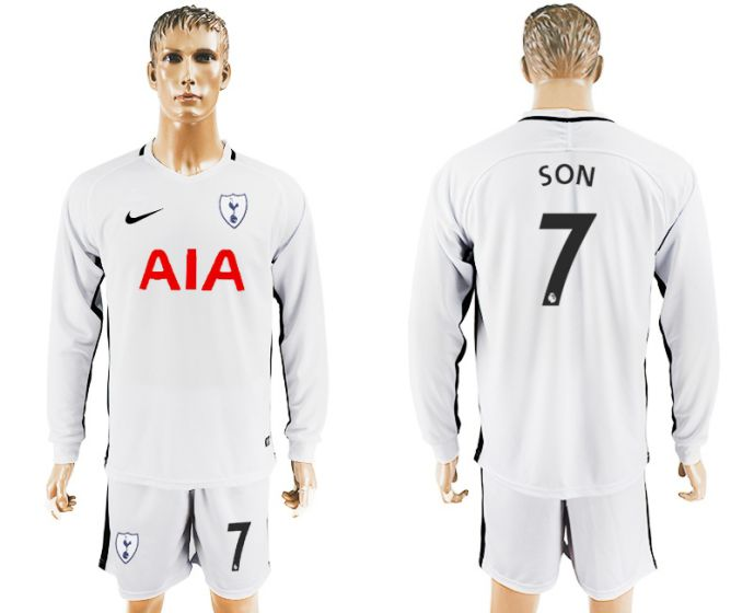 Men 2017-2018 club Tottenham Hotspur home long sleeve 7 soccer jersey