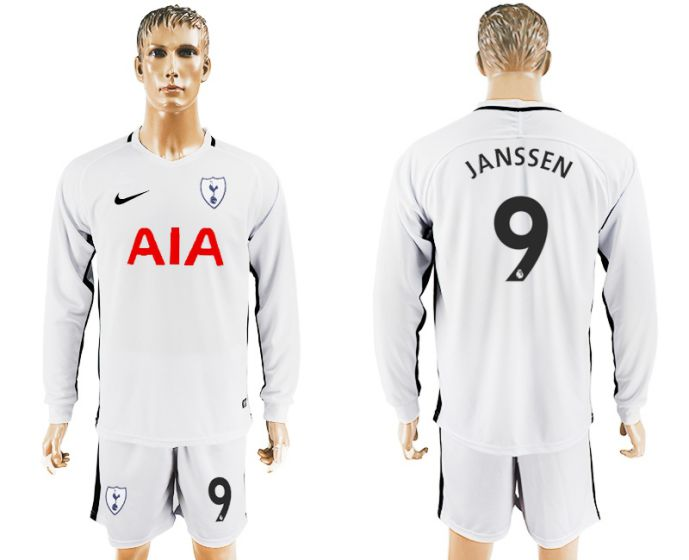 Men 2017-2018 club Tottenham Hotspur home long sleeve 9 soccer jersey