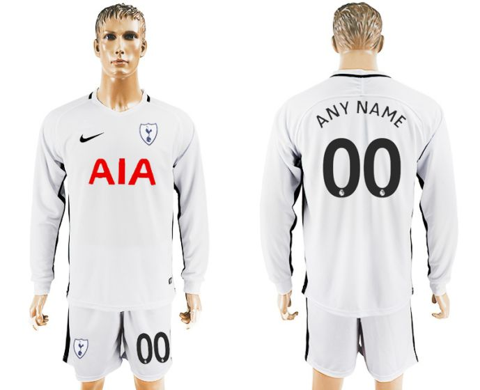 Men 2017-2018 club Tottenham Hotspur home long sleeve customized soccer jersey