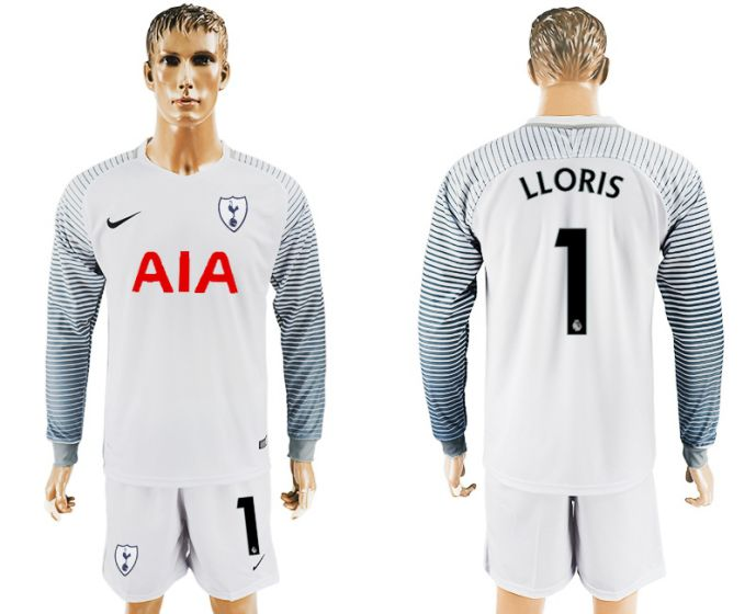 Men 2017-2018 club Tottenham Hotspur white goalkeeper long sleeve 1 soccer jersey