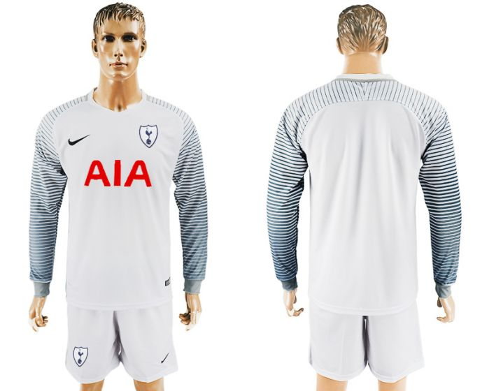 Men 2017-2018 club Tottenham Hotspur white goalkeeper long sleeve soccer jersey