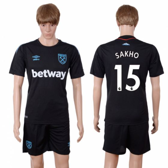 Men 2017-2018 club West Ham United away 15 black soccer jersey