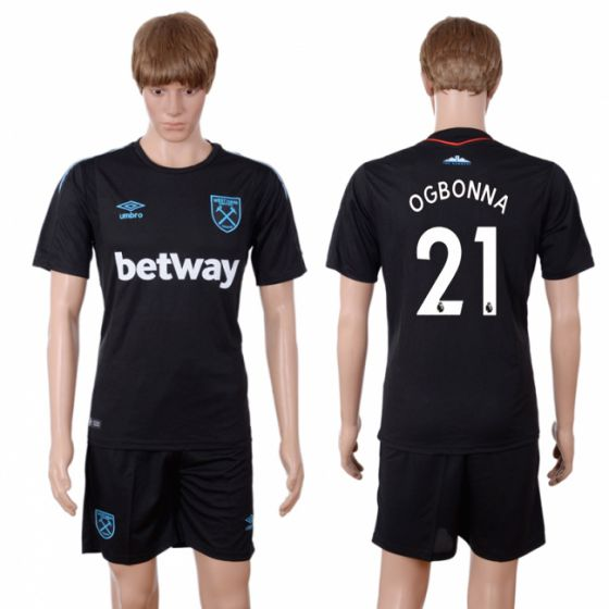Men 2017-2018 club West Ham United away 21 black soccer jersey