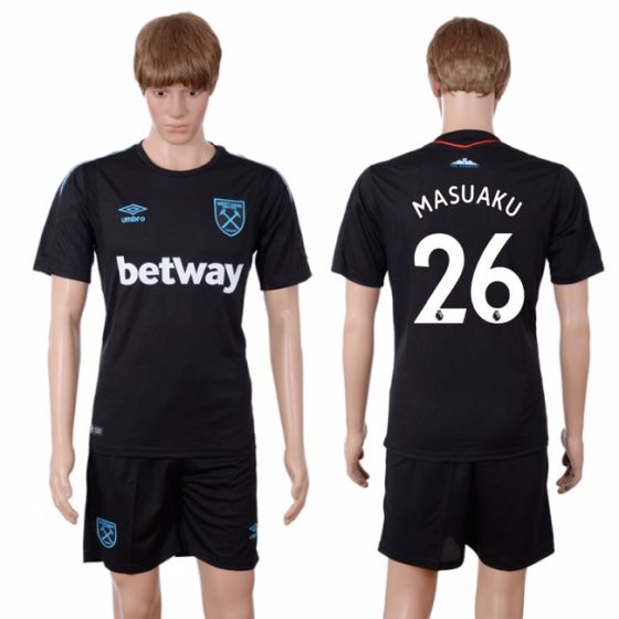 Men 2017-2018 club West Ham United away 26 black soccer jersey