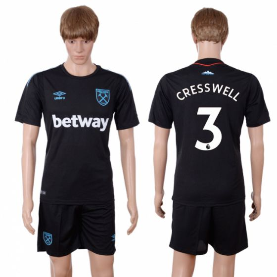 Men 2017-2018 club West Ham United away 3 black soccer jersey