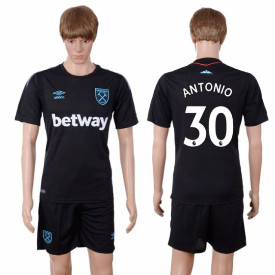 Men 2017-2018 club West Ham United away 30 black soccer jersey