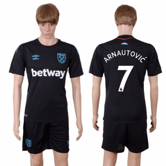 Men 2017-2018 club West Ham United away 7 black soccer jersey