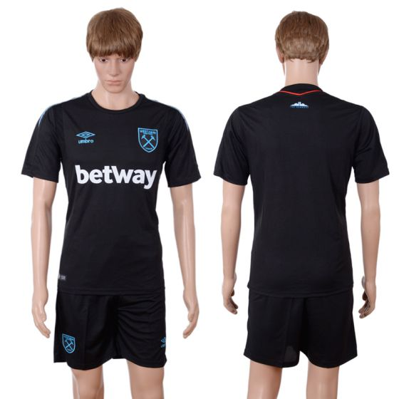 Men 2017-2018 club West Ham United away blank black soccer jersey