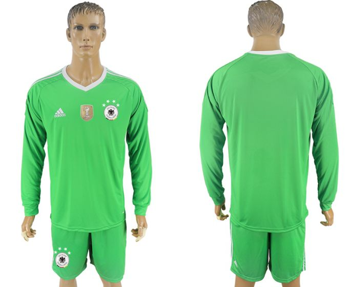 Men 2017-2018 national Germany green goalkeeper long sleeve soccer jersey