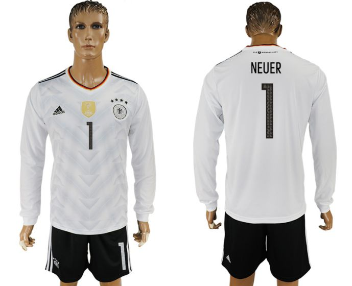 Men 2017-2018 national Germany home long sleeve 1 Neuer soccer jersey