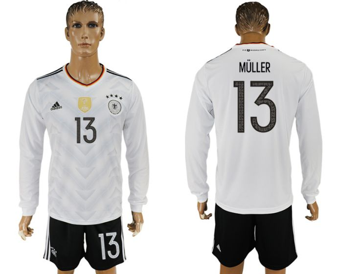 Men 2017-2018 national Germany home long sleeve 13 soccer jersey