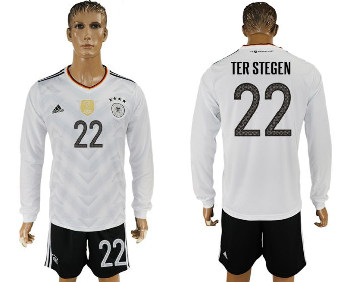 Men 2017-2018 national Germany home long sleeve 22 soccer jersey
