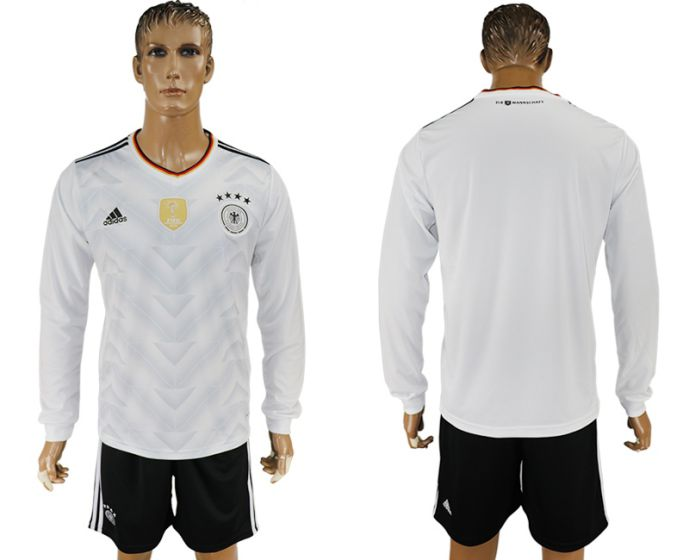 Men 2017-2018 national Germany home long sleeve blank soccer jersey