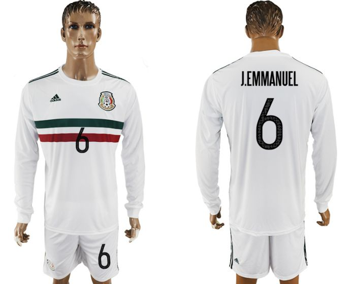 Men 2017-2018 national Mexico away long sleeve 6 white soccer jersey