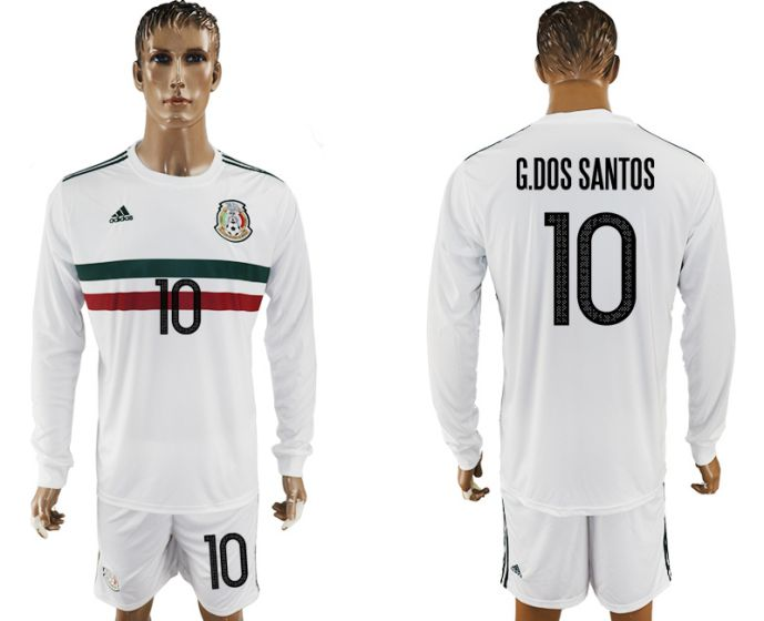 Men 2017-2018 national Mexico away long sleeve 10 soccer jersey