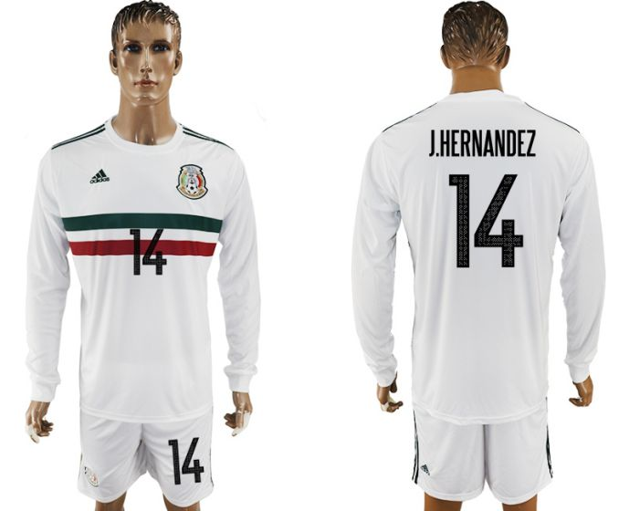 Men 2017-2018 national Mexico away long sleeve 14 white soccer jersey