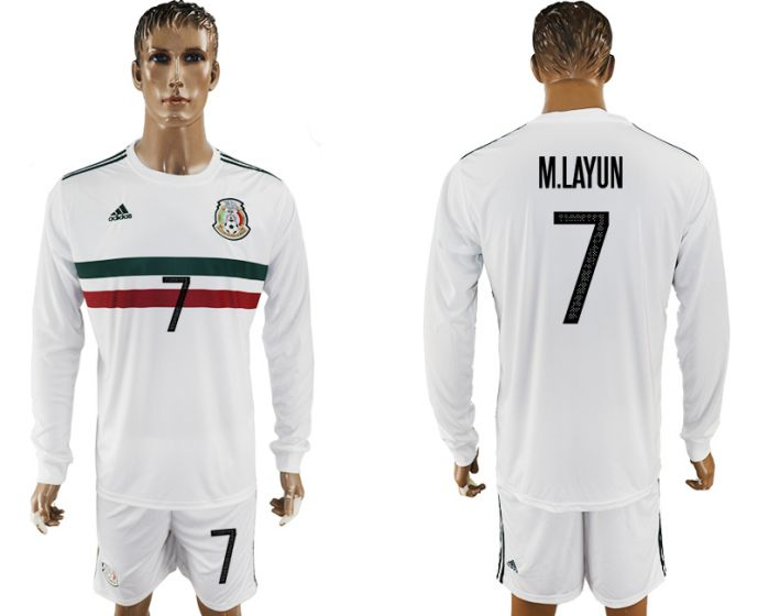 Men 2017-2018 national Mexico away long sleeve 7 soccer jersey