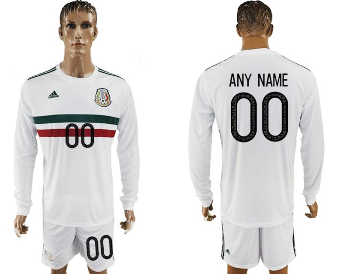 Men 2017-2018 national Mexico away long sleeve customized soccer jersey