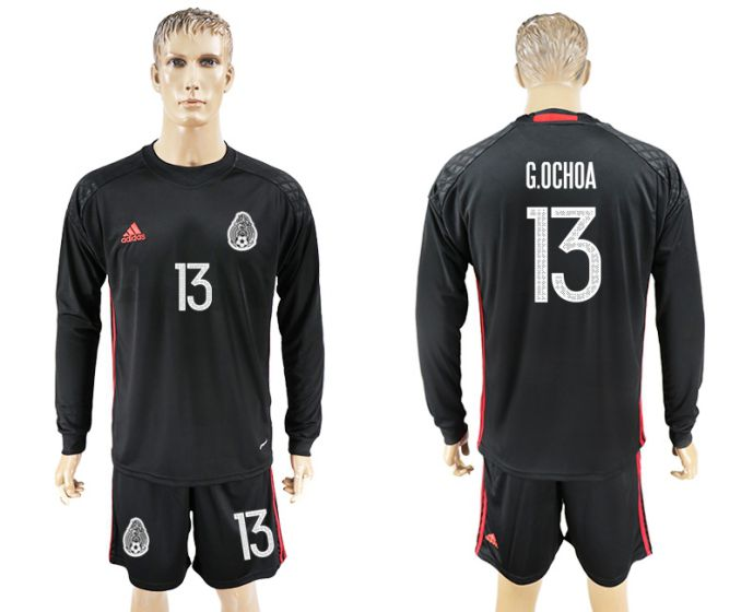 Men 2017-2018 national Mexico black goalkeeper long sleeve 13 soccer jersey