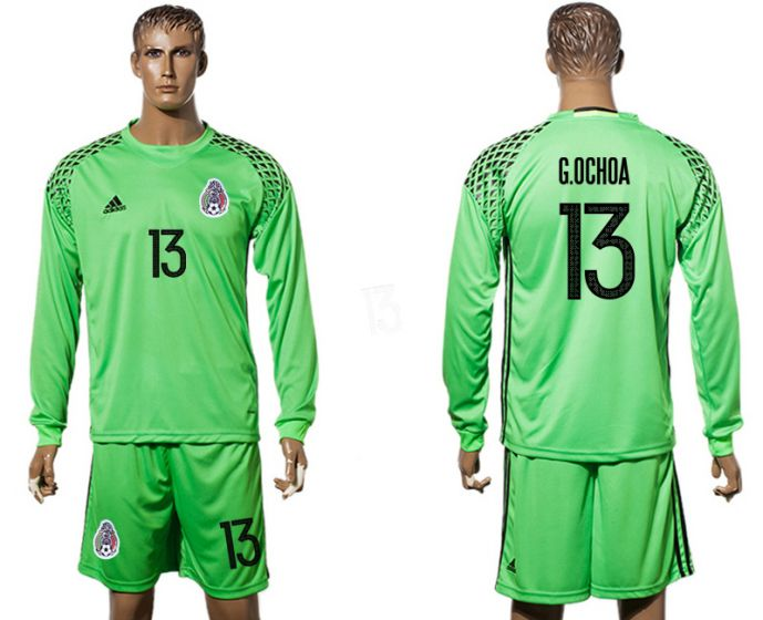 Men 2017-2018 national Mexico green long sleeve goalkeeper 13 soccer jersey