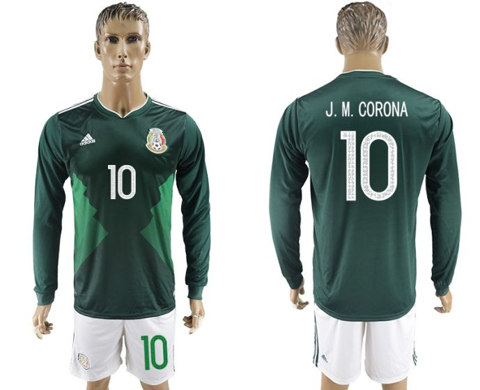Men 2017-2018 national Mexico home long sleeve 10 green soccer jersey
