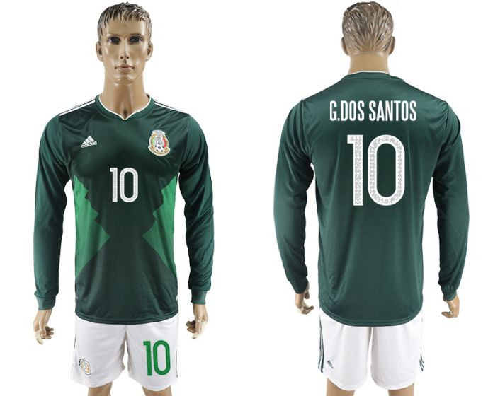 Men 2017-2018 national Mexico home long sleeve 10 soccer jersey