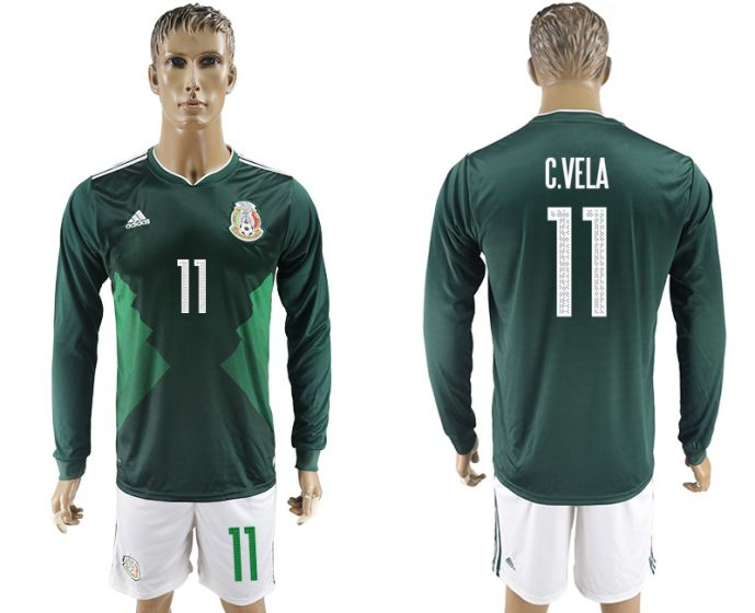 Men 2017-2018 national Mexico home long sleeve 11 soccer jersey