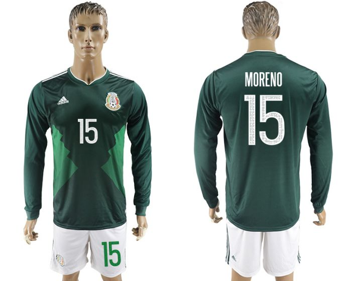 Men 2017-2018 national Mexico home long sleeve 15 soccer jersey