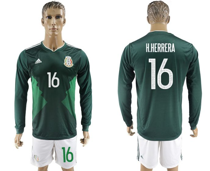 Men 2017-2018 national Mexico home long sleeve 16 soccer jersey