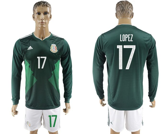 Men 2017-2018 national Mexico home long sleeve 17 soccer jersey