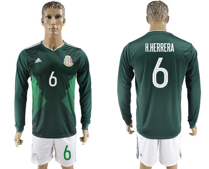 Men 2017-2018 national Mexico home long sleeve 6 soccer jersey