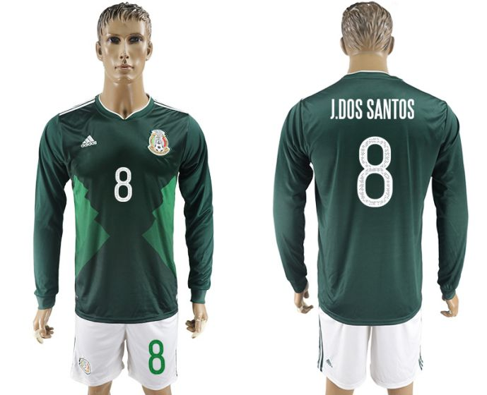 Men 2017-2018 national Mexico home long sleeve 8 soccer jersey