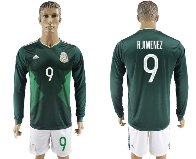 Men 2017-2018 national Mexico home long sleeve 9 soccer jersey