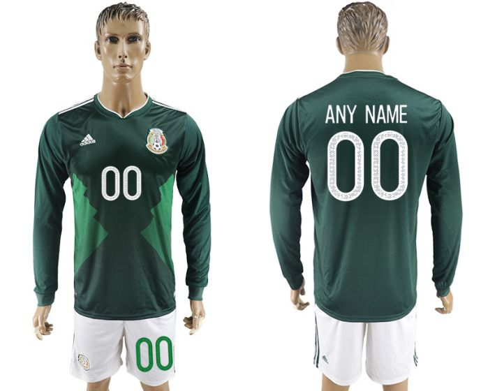 Men 2017-2018 national Mexico home long sleeve customized soccer jersey