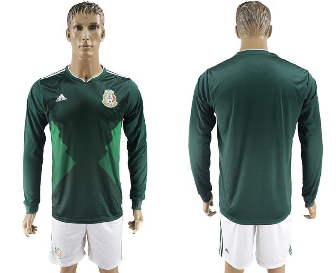 Men 2017-2018 national Mexico home long sleeve soccer jersey