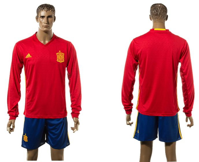 Men 2017-2018 national Spain home long sleeve soccer jersey