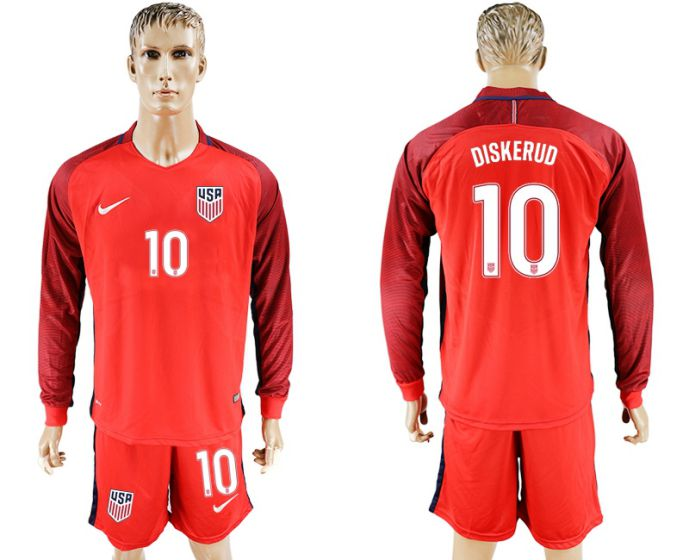 Men 2017-2018 national USA away long sleeves 10 red soccer jersey