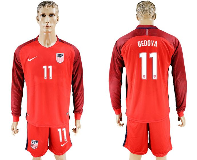 Men 2017-2018 national USA away long sleeves 11 soccer jersey