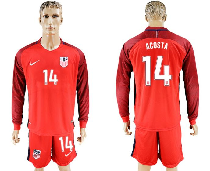 Men 2017-2018 national USA away long sleeves 14 red soccer jersey