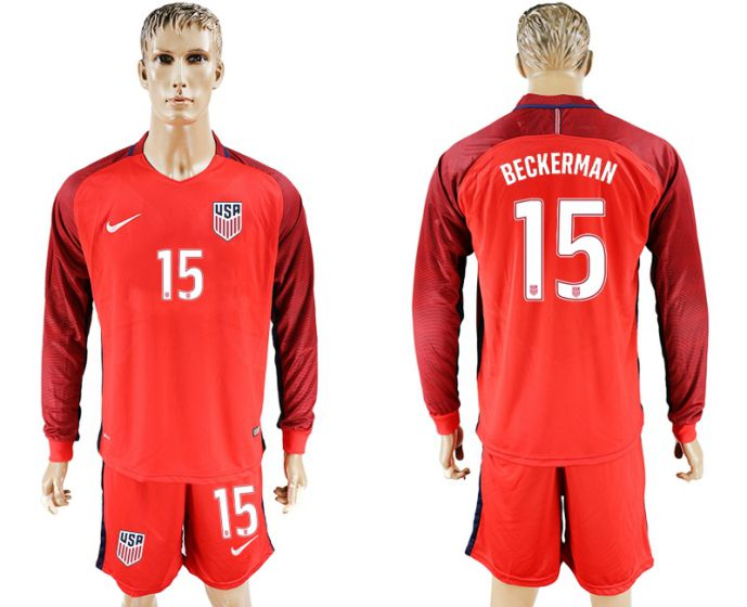 Men 2017-2018 national USA away long sleeves 15 red soccer jersey