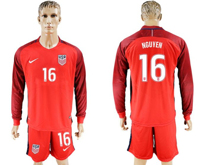 Men 2017-2018 national USA away long sleeves 16 soccer jersey