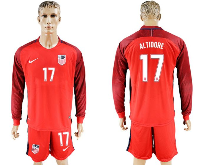 Men 2017-2018 national USA away long sleeves 17 red soccer jersey