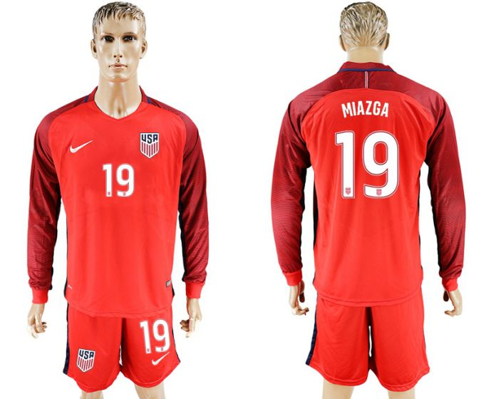 Men 2017-2018 national USA away long sleeves 19 red soccer jersey