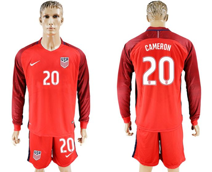 Men 2017-2018 national USA away long sleeves 20 red soccer jersey
