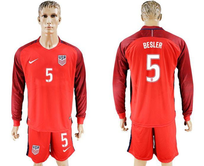 Men 2017-2018 national USA away long sleeves 5 soccer jersey