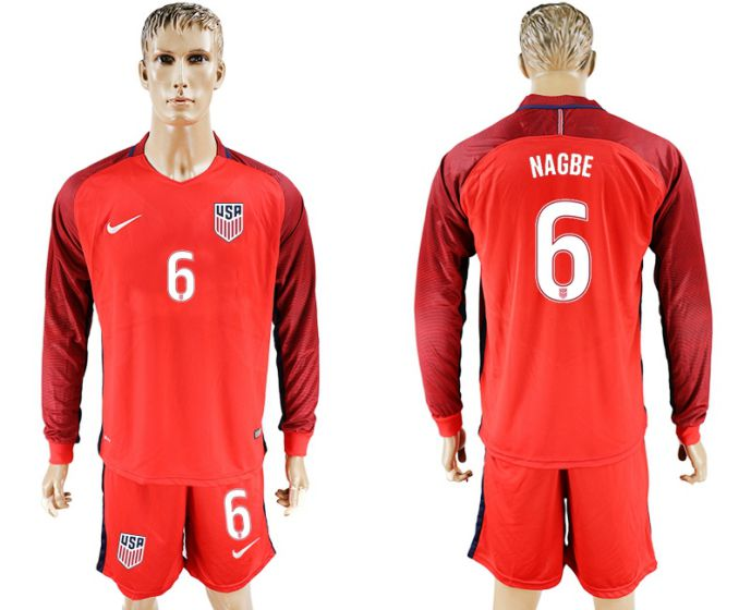 Men 2017-2018 national USA away long sleeves 6 red soccer jersey